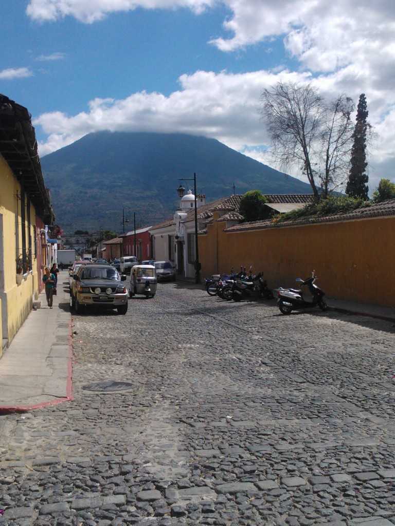 Threres normally a volcano somewhere......antigua guatemala