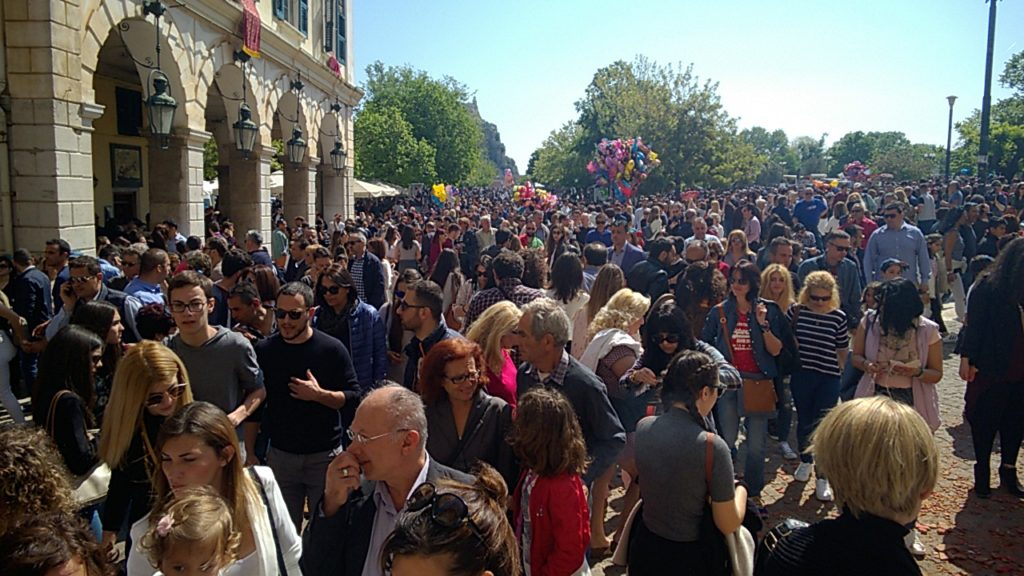 Crowds at easter corfu